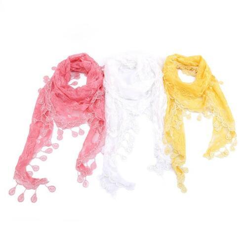 Female Headkerchief Triangle Scarf Solid Color 1pc Elegant Women Lace Shawl HY