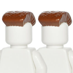 x2 Reddish Brown Color *NEW* Lego Male Minifig Hair Pieces