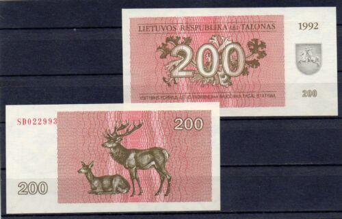 LITHUANIA Europe 1992 UNC 200 Talonas p-43 Deer