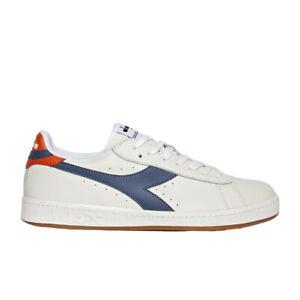 Diadora Game L Low Sneaker Uomo 501.172526 C8572 Bianco Blu Denim Scuro Papavero