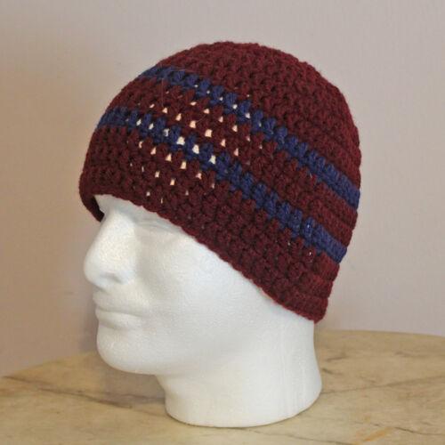HANDMADE ZAC BROWN STYLE SKULL CAP BEANIE--NEW--maroon /& navy