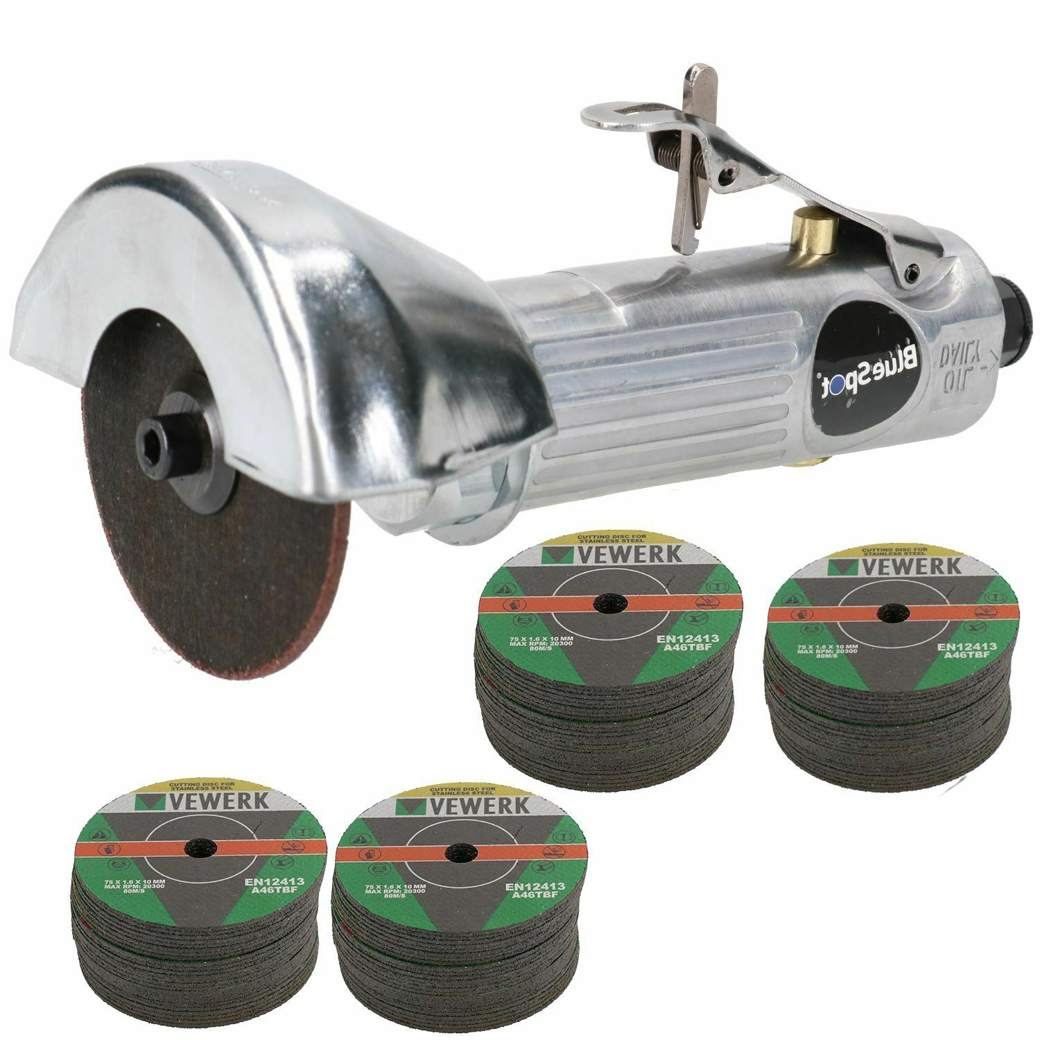 """3""""   75mm Air Cut Off Cutting Tool Pneumatic Grinding Saw Cutter With 104 Discs"""