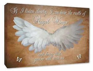 Angel Wings Wall Art Picture /'IF I Listen Closely/' Quote Canvas Print Grey