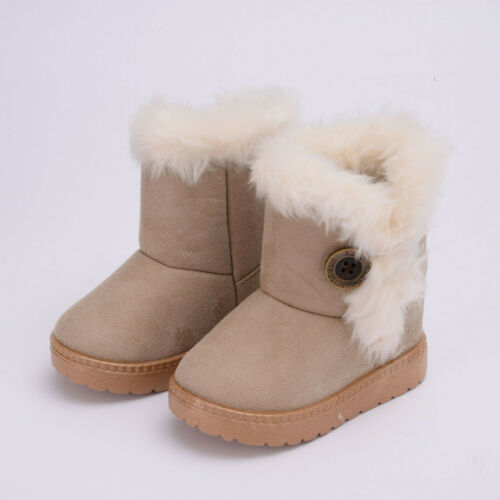 Kids Girl Boy Snow Boot Thicken Mid-calf Boots Child Baby Fur Winter Warm Shoes