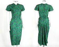 VTG c.1940's COUTURE GREEN PRINT SHORT SLEEVE FAN TAIL BUSTLE BUCK DRESS OOAK S