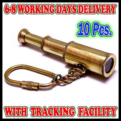 Brass Keychain Telescope Marine Spyglass key chain Key ring Gift Set of 10 pcs