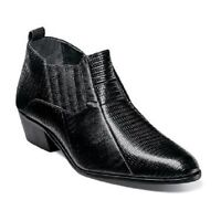 Stacy Adams Mens Shoes Cuban Heels Santee Black Lizard Print Leather 25043-001