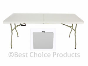 folding table 6 39 portable plastic indoor outdoor picnic party dining camp tables ebay. Black Bedroom Furniture Sets. Home Design Ideas