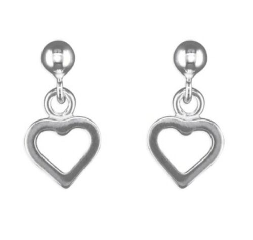 925 Sterling Silver Small Tiny 3mm Ball Open Heart Drop Earrings X/'Mas GIFT BOX