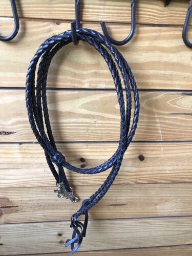 Western Round Braided Leather Split Reins w Scissor Clip Ends Black Light Brown