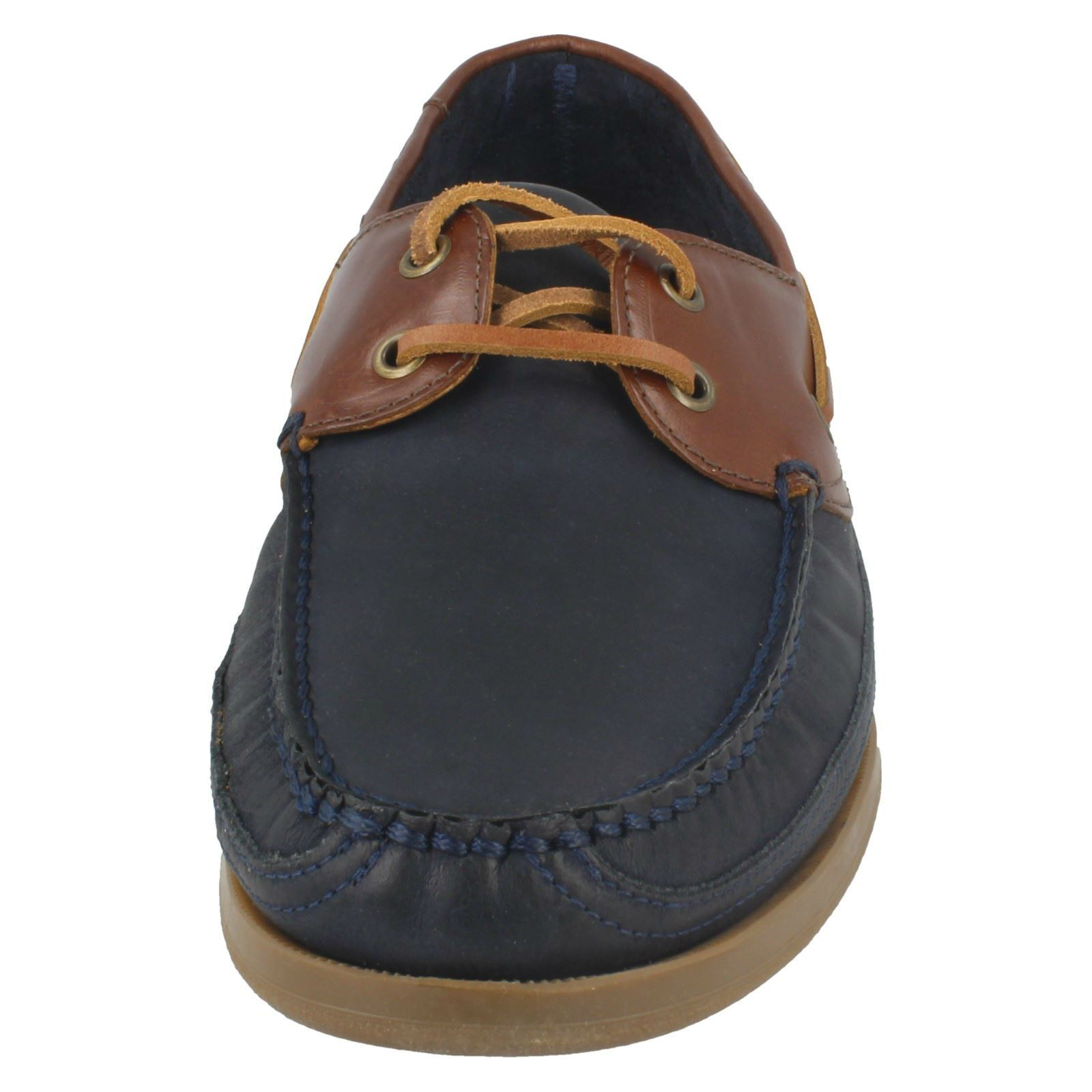 Mens Anatomic Navy Havana /Tobacco Leather Lace Up Boat/Deck Shoes Viana 393920