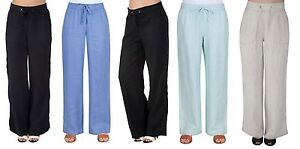 Womens-Ex-M-amp-S-Ladies-Linen-Pull-On-Casual-Trousers-Summer-Holiday-Summer-Pants