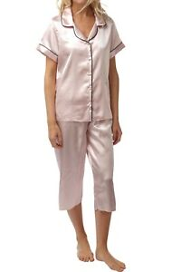 Ladies-pink-Satin-short-sleeve-pjs-size-12-set