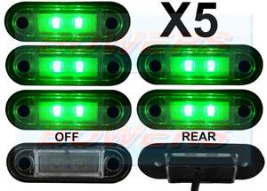5-X-12V-24V-Lamparas-LED-Verde-Ajuste-al-Ras-Luces-De-Posicion-Camion-Van-Camion-Kelsa-Bar
