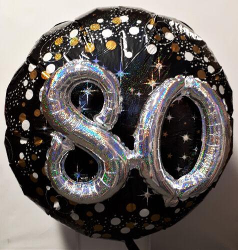 Geburtstag  Jubiläum  Zahl Ballon  schwarz silber 81 cm 3-D Folienballon 80