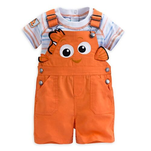 DISNEY STORE FINDING NEMO CHARACTER DUNGAREE SHORTS SET FOR BABY NWT SUPER CUTE
