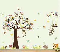Wandtattoo XXXL Eulen Affe Fuchs Wald Tiere Wand aufkleber Sticker Kinderzimmer