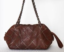 Auth Chanel burgundy soft leather shoulder bag tote purse