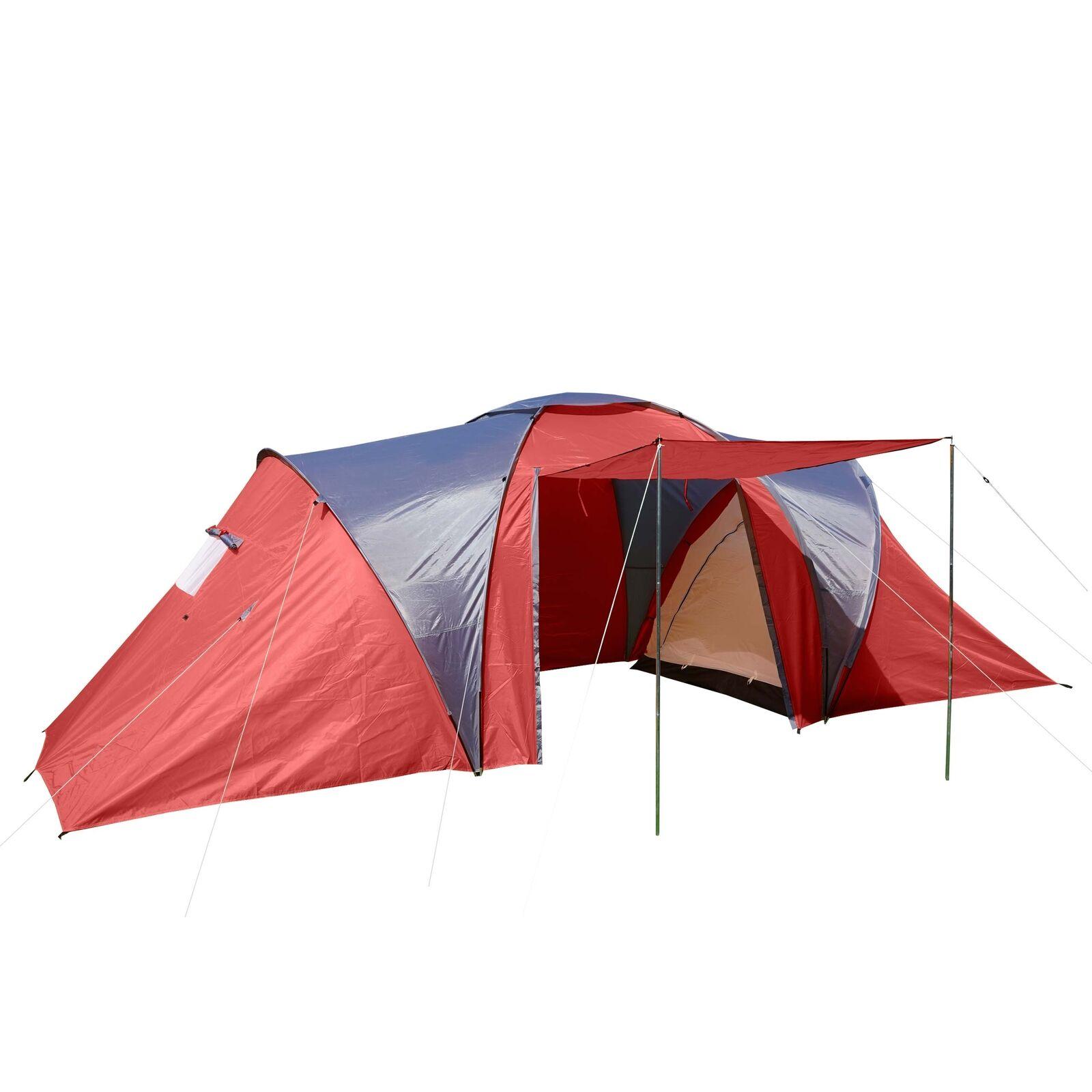 Campingzelt Laagri 4-Mann Kuppelzelt Igluzelt Festival-Zelt 4 Personen rot