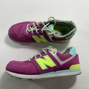 New Balance 574 Classic Running Purple Neon Yellow Womens Size 5 ...