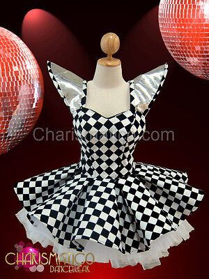 CHARISMATICO Black & White Checker patterned Diva Showgirl's Gothic Dollie Dress