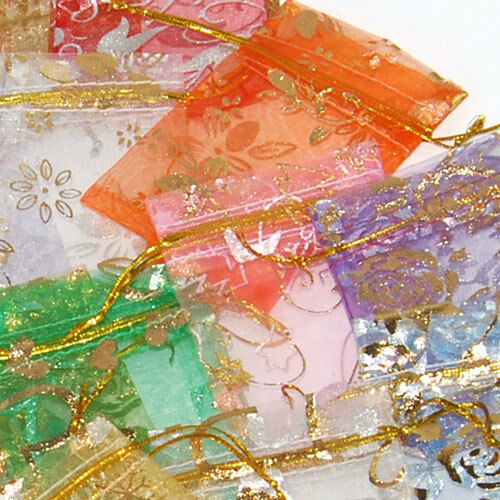 12x 25x 50x 100x Vogue Organza Jewelry Wedding Gift Pouch Bags 7X9cm Mix Color