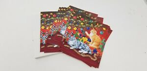 Christmas-Cards-18-Cards-18-Envelopes-Cat-themed-Christmas-tree-ornaments