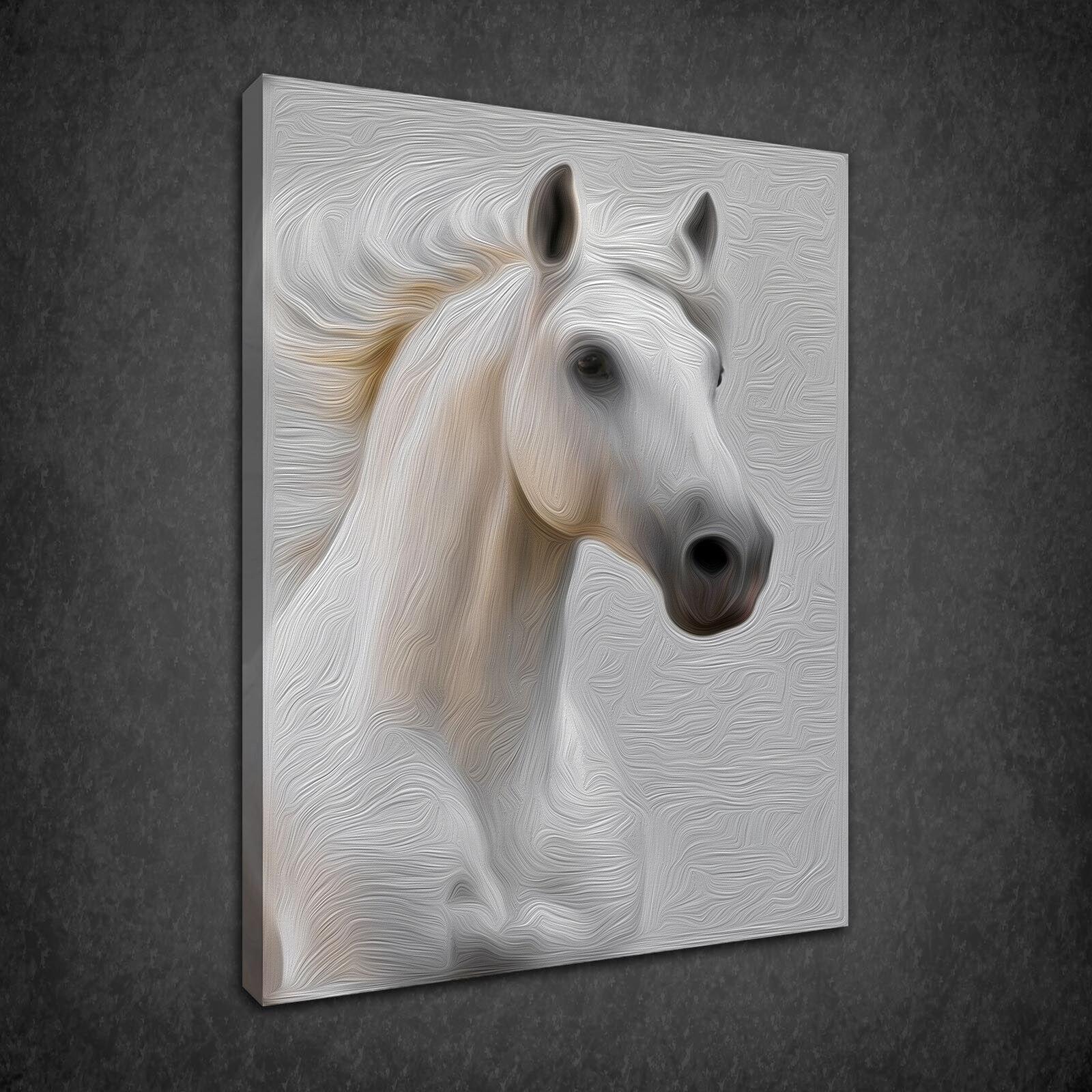 BELLISSIMO CAVALLO BIANCO Stallion Pittura Stile di stampa art. a muro foto