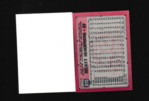 1991 TOPPS #670 RICKEY HENDERSON A/'S GREAT BLANK FRONT ERROR