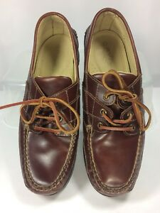 23a86a01812 Details about Orvis Mens Boat Deck Shoes Brown Leather Fishing Camping  Walking Lace-Up Size 8D