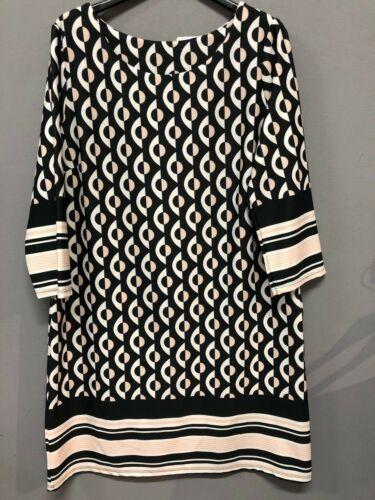 Vestito donna abito corto tunica svasato manica 3//4 girocollo slim 1712-Fantasia