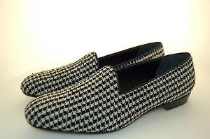 MAN-46-12eu-SLIPPER-PANTOFOLA-PIED-DE-POULE-FABRIC-WHITE-BLACK-LEATHER-SOLE
