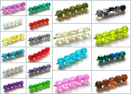 Perles De Verre Crackle Perles Boule 8 mm 40 Pièce serajosy