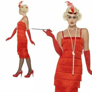 1920s Long Red Flapper Fancy Dress Costume Charelston Outfit Sizes S-XXL