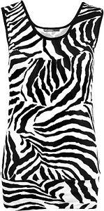 New-Womens-Zebra-Black-White-Short-Animal-Print-Vest-Ladies-Sleeveless-Top-8-14