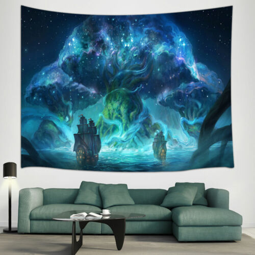 Sailing Boat and World Tree Tapestry for Bedroom Living Room Dorm Decor