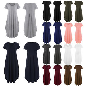 PLUS-SIZE-Summer-Women-Hippie-Long-Maxi-Solid-Casual-Loose-Beach-Sundress-Dress