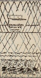 Geometric-Ivory-Modern-Moroccan-Oriental-Area-Rug-Hand-knotted-Wool-Carpet-4-039-x6-039