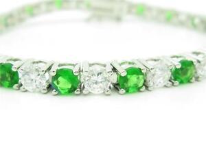 PLATINUM-STERLING-SILVER-DIAMOND-SET-GREEN-amp-WHITE-SAPPHIRE-TENNIS-BRACELET-GIFT