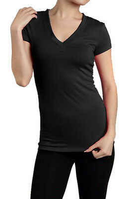 SHORT SLEEVE V NECK Basic Plain T-Shirt Top Tight Fitted Junior Women