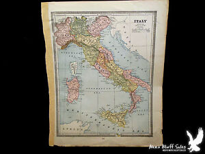 Original 1883 cram atlas hand colored old map italy turkey greece image is loading original 1883 cram atlas hand colored old map gumiabroncs Image collections