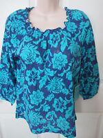 - Caribbean Joe Ladies Peasant/boho Style Top - Sz - Msrp $42.00 - Blue