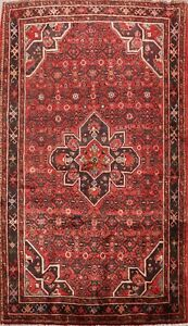 Vintage-Geometric-Traditional-Hossainabad-Area-Rug-Hand-knotted-Wool-Carpet-5x8
