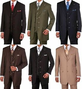 Men S Classic Fashion Suit Black Red Olive Wt Suits W Vest Stitching Design Ebay