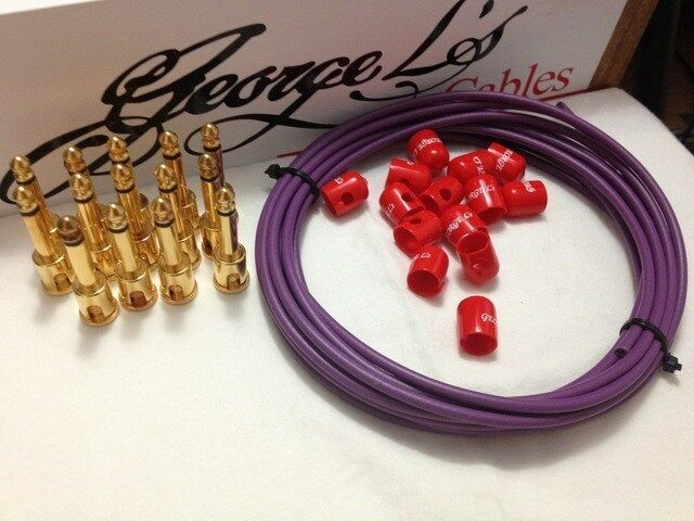 George L's 155 Pedalboard Cable Kit LARGE .155 lila & ROT / GOLD 15/14/14