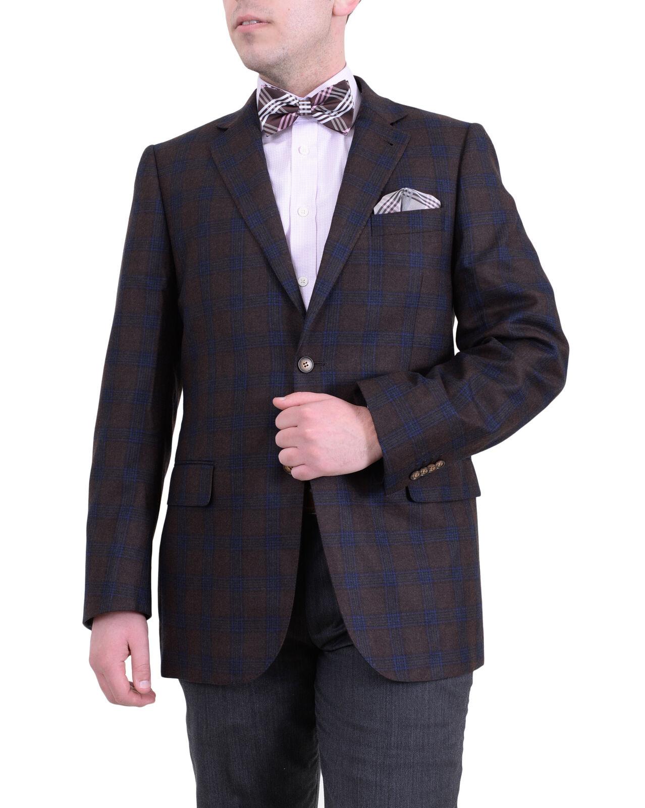 Mens 40S Zanetti Regular Fit Brown Plaid Two Button Wool Blazer Sportcoat