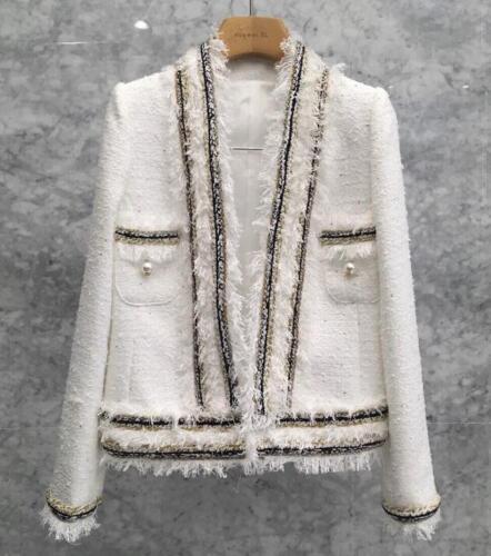 Ladies Tweed wool Jacket Runway Coat Womens white Tweed Jackets Coat outwear