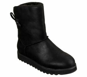 Details about Skechers Keepsakes 2.0 Hearth Boots Womens Mid Calf Slip On Faux Leather 44932