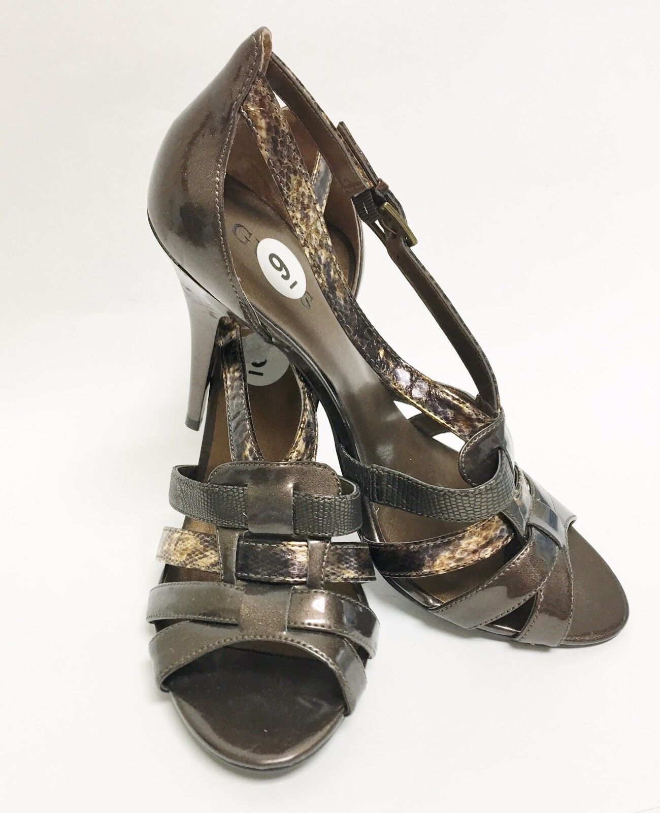 NEW GUESS PYTHON EMBOSSED LEATHERETTE BRONZE PEEP TOE Schuhe PUMPS SIZE 9
