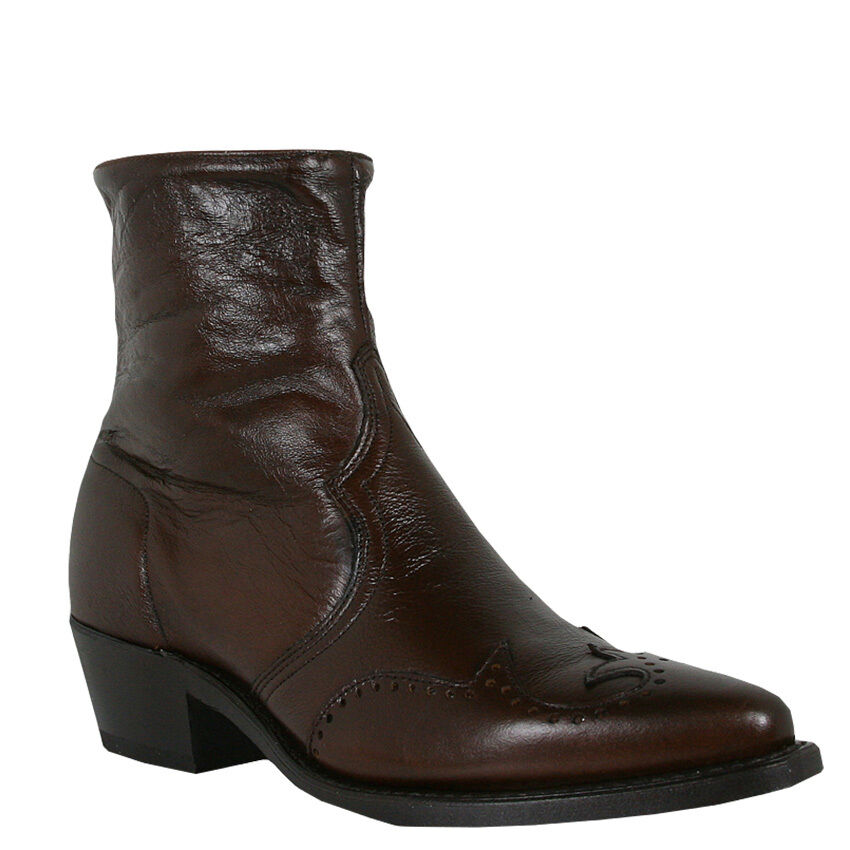 MEN'S ABILENE SHORT WINGTIP WESTERN BOOT CHOCOLATE W/ ZIPPER 6443